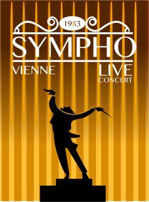 Naklejka Vienna Symphony Orchestra plakat koncertowy. Ekspresyjna dyrygent kieruje orkiestrą podczas wykonywania sylwetka ilustracji wektorowych. Na ulotce reklamowej festiwal muzyki lub baner projektowania