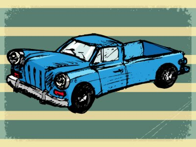 Naklejka vintage background with retro car