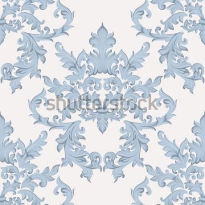 Naklejka Vintage barokowy adamaszek kwiatowy wzór akantu w stylu imperialnym. Tło wektor wystrój. Luksusowy klasyczny ornament. Royal Victorian tekstury do tapet, tkanin, tkanin. Niebieski kolor