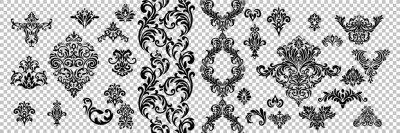 Naklejka Vintage baroque frame scroll ornament engraving border floral retro pattern antique style acanthus foliage swirl decorative design element filigree calligraphy.