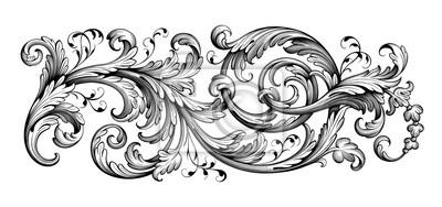Naklejka Vintage Baroque Victorian frame border floral engraved scroll ornament leaf retro flower pattern decorative design tattoo black and white filigree calligraphic vector heraldic shield swirl