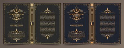 Naklejka Vintage book layouts and design - covers and pages, classical rich frames, dividers, corners, borders, luxury ornaments and decorations, beautiful pages templates for creative design.