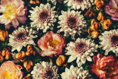 Naklejka Vintage bouquet of beautiful flowers on black. Floral background. Baroque old fashiones style. Natural pattern wallpaper or greeting card