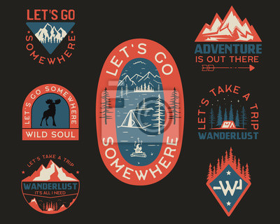 Naklejka Vintage camp logos, mountain badges set. Hand drawn labels designs for t shirt. Travel expedition, wanderlust and hiking. Wild animals, outdoor emblems. Logotypes collection. Stock vector