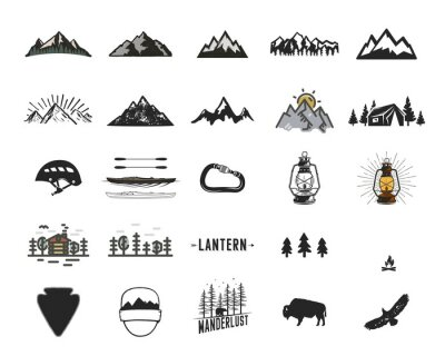 Naklejka Vintage camping icons and adventure symbols illustrations set. Hiking shapes of mountains, trees, wild animals and others. Retro monochrome design. Can be used for t shirts, prints. Stock