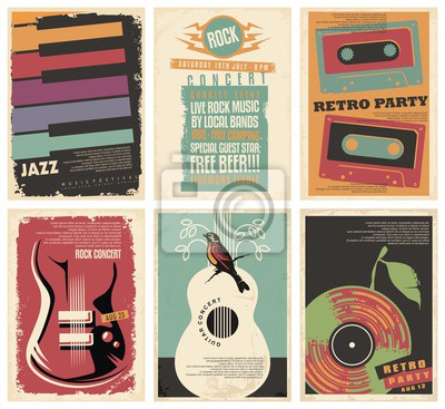 Naklejka Vintage collection of musical posters. Flyers set for retro parties, rock and jazz concerts, classical guitar events and other music festivals. Retro vector illustration.