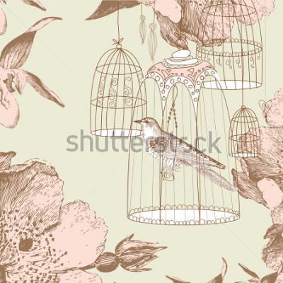Naklejka vintage karty z ptakiem w klatce