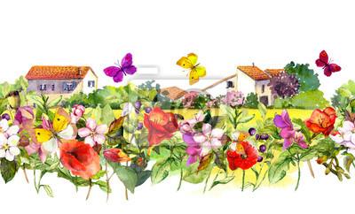 Vintage kwiatowy granicy - domy wiejskie. Akwarele letnie kwiaty, motyle. Bez szwu ramki