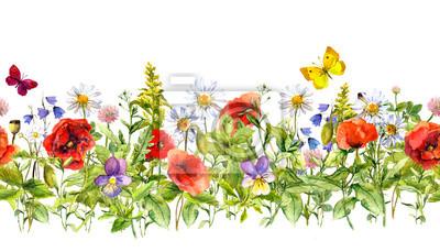 Vintage kwiatowy granicy poziomej. Akwarela kwiaty łąka, trawy, zioła. Jednolite ramy