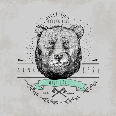 Naklejka Vintage Miś logo.