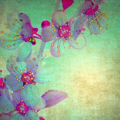 Naklejka Vintage orchid on green background