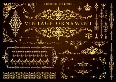 Naklejka vintage ornament set. floral decorative frames and borders.
