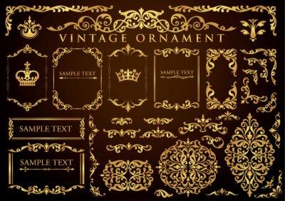 Naklejka vintage ornament set. floral frames and borders.