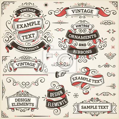 Naklejka Vintage Ornaments And Ribbons