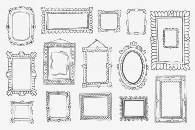 Naklejka Vintage photo frame in doodle style. Vector hand drawn set with picture frames