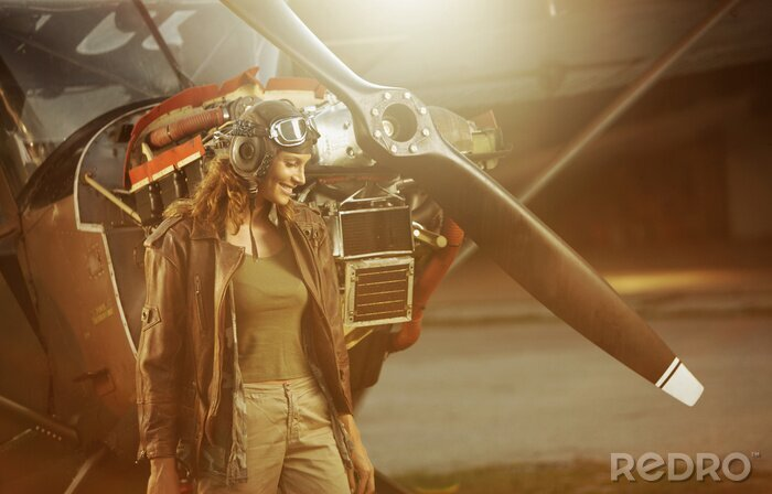 Naklejka Vintage pilot samolotu
