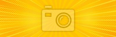 Naklejka Vintage pop-artu żółte tło. Ilustracja wektorowa transparent