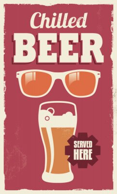 Naklejka Vintage retro beer sign - vector poster design