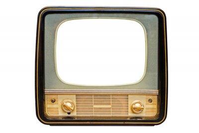 Naklejka Vintage, retro old television isolated on white background. The old TV on the isolated white background