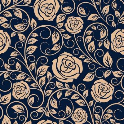 Naklejka Vintage roses flowers seamless pattern