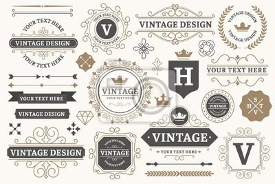 Naklejka Vintage sign frames. Old decorative frame design, retro ornate label elements and luxurious vintage borders. Premium certificate badge, victorian elegant tag. Isolated vector symbols set
