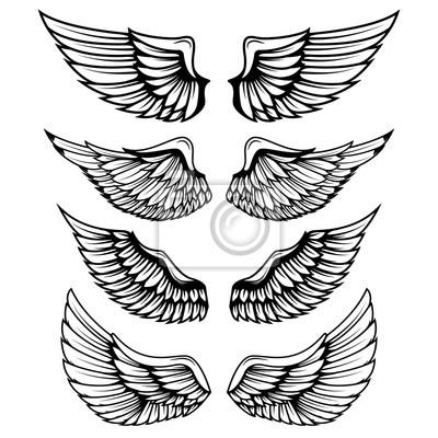Vintage skrzydła na białym tle. elementy konstrukcyjne