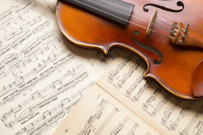 Naklejka Vintage skrzypce na arkuszu muzyki.
