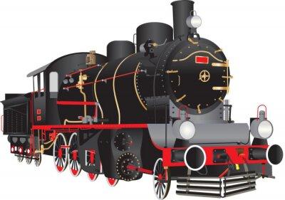 Naklejka Vintage Steam Engine on white