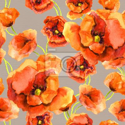 Vintage szwu kwiatowy szablon z czerwonego maku na szarym tle