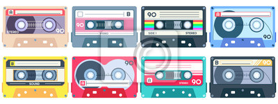 Naklejka Vintage tape cassette. Retro mixtape, 1980s pop songs tapes and stereo music cassettes. 90s hifi disco dance audiocassette, analogue player record cassette. Isolated symbols vector set
