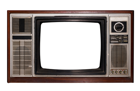 Naklejka Vintage television - Old TV with frame screen isolate on white with clipping path for object, retro technology