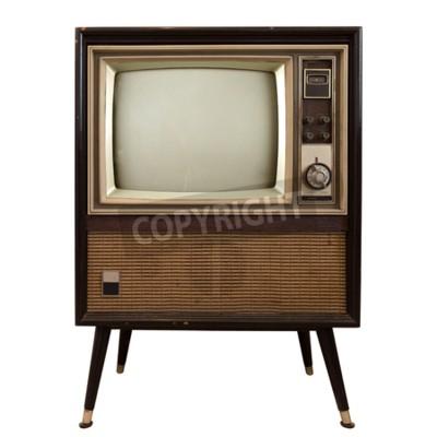 Naklejka Vintage telewizji - stary TV wyizolować na biały, technologia retro