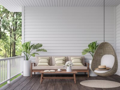 Naklejka Vintage terrace with nature view 3d render, There are old wooden floor and white plank wall,decorate with wood,fabric and rattan furniture,overlooking to the green garden background