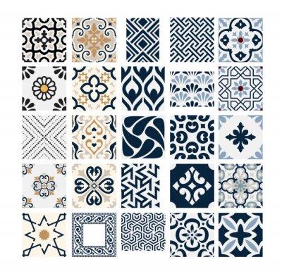 Naklejka vintage tiles Portuguese patterns antique seamless design in Vector illustration
