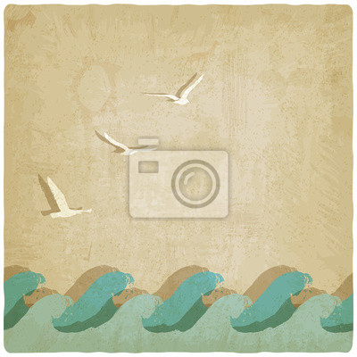 Naklejka Vintage tle morskich - ilustracji wektorowych