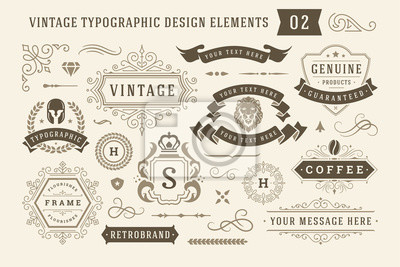 Naklejka Vintage typographic design elements set vector illustration.