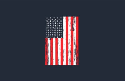 Naklejka Vintage USA Flag with Grunge Style Vector Design