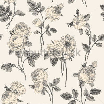 Naklejka Vintage vector seamless pattern with bouquets of flowers blooming garden Victorian roses. Gray white flowers with gray leaves on a light gray background. Classic.