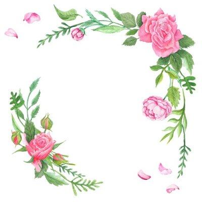 Naklejka Vintage Watercolor Rose Corners