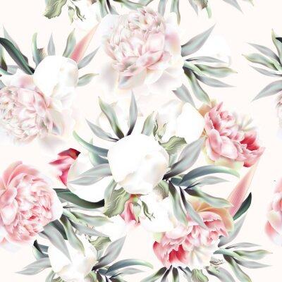 Naklejka Vintage wektor wzór z peoni peonia, liści i roślin tropikalnych