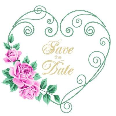 Naklejka Vintage zaproszenie na ślub z róż