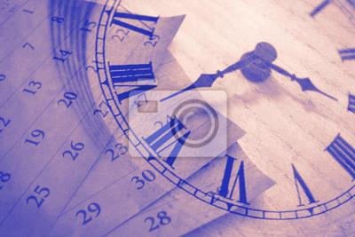 Naklejka Vintage zegar i kalendarz, pojęcie czasu