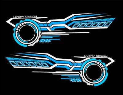 Naklejka Vinyls sticker set Decals for Car truck mini bus modify Motorcycle. Racing Vehicle Graphics kit isolated vector design race Elegant stripes modern theme technology background for wrap