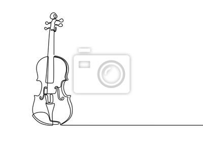 Naklejka Violin continuous line drawing minimalist design