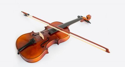 Naklejka Violin in white background with bow