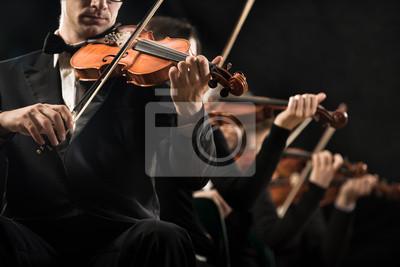 Violin orchestra performing