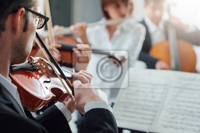 Naklejka Violinist performing with classical orchestra