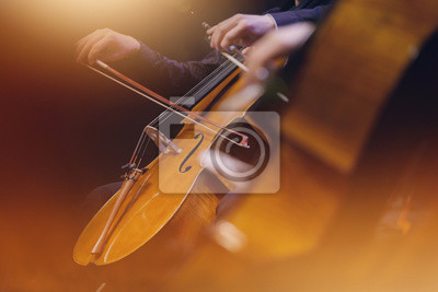 Naklejka violoncelle musique classique orchester archet corde instrument symphonique musicien koncert