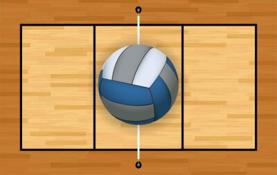 Naklejka Volleyball and Court Background Illustration