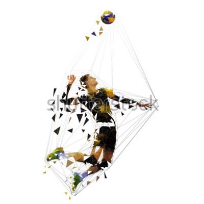 Naklejka Volleyball player serving ball, polygonal vector illustration
